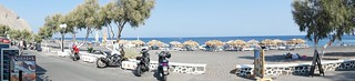 Image of Perissa beach near Emporeío. bike scooter santorini