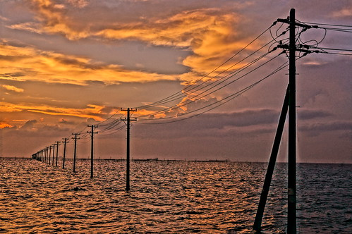 Picturize Hi utility poles into the sea 15