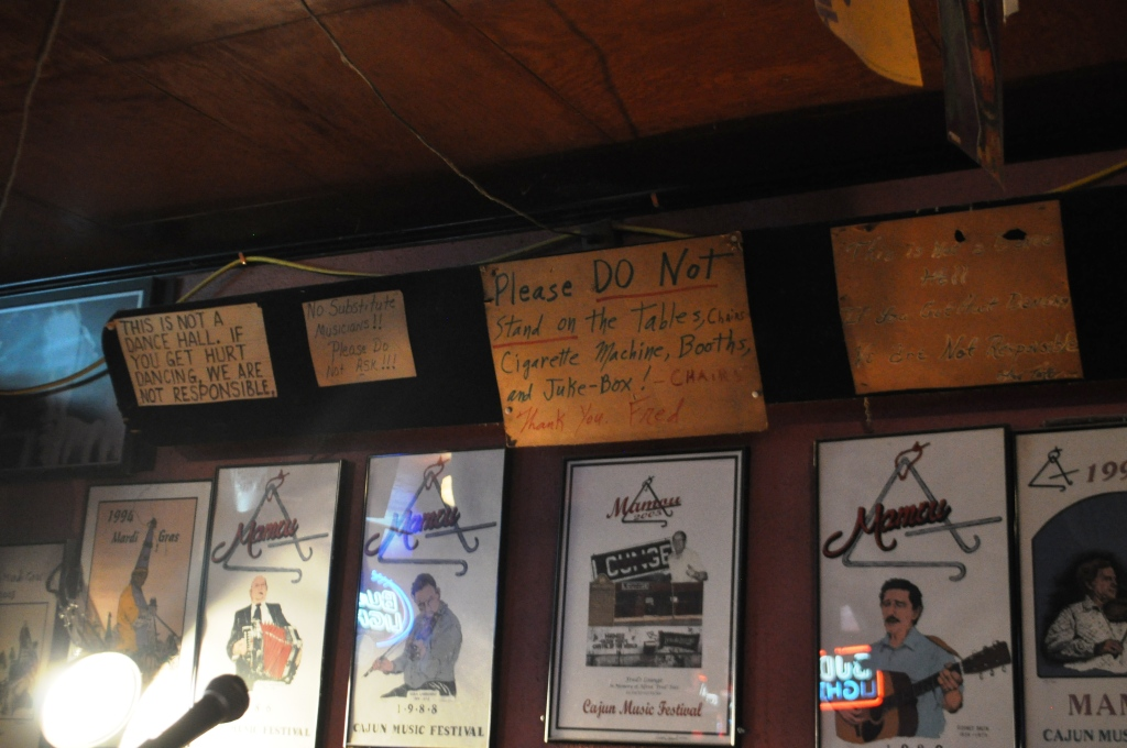 Signs Written By Fred Hang on the Wall Behind the Band, Fred's Lounge, Mamou, Louisiana