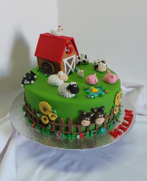 Farm Animal Themed Birthday Cake