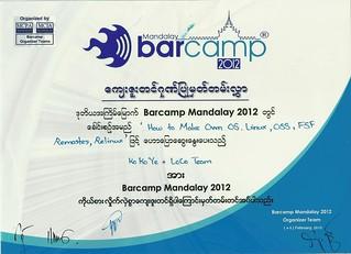 Barcamp Mandalay 2012 Certificate