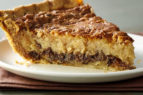 Chocolate Coconut pecan custard pie