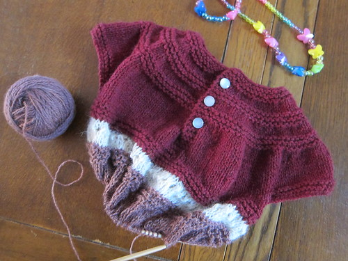 In Threes pullover in progress
