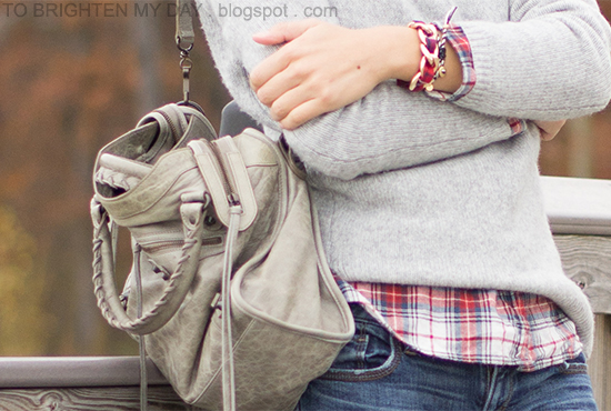 gray cowlneck sweater, plaid shirt