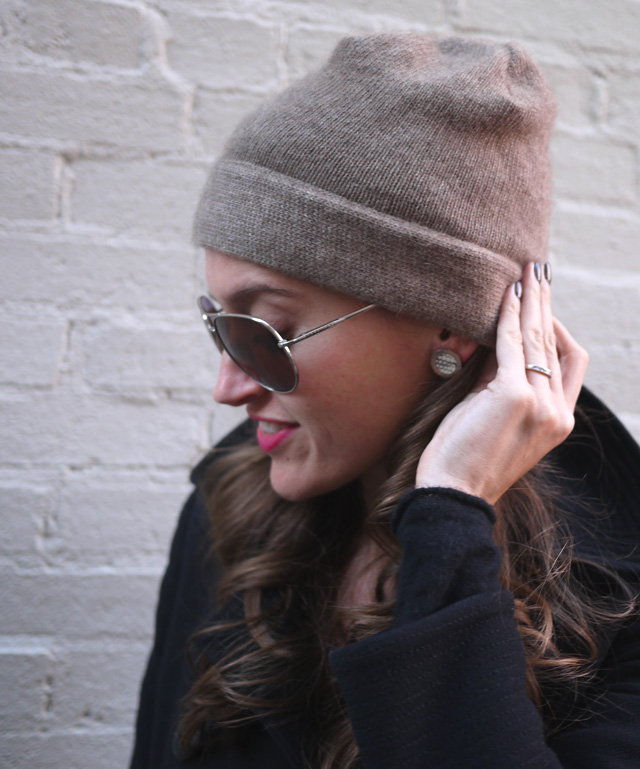 la kaiser snakeskin earrings knit hat aviators