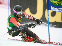 Conrad Pridy competes in the super-G at the FIS Alpine World Cup in Lake Louise
