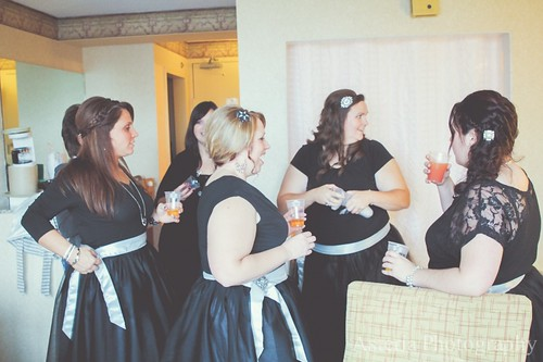 Bridesmaids' reaction to bride