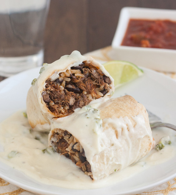 Slow Cooker Smoky Shredded Chipotle Beef Burritos with Poblano Sauce