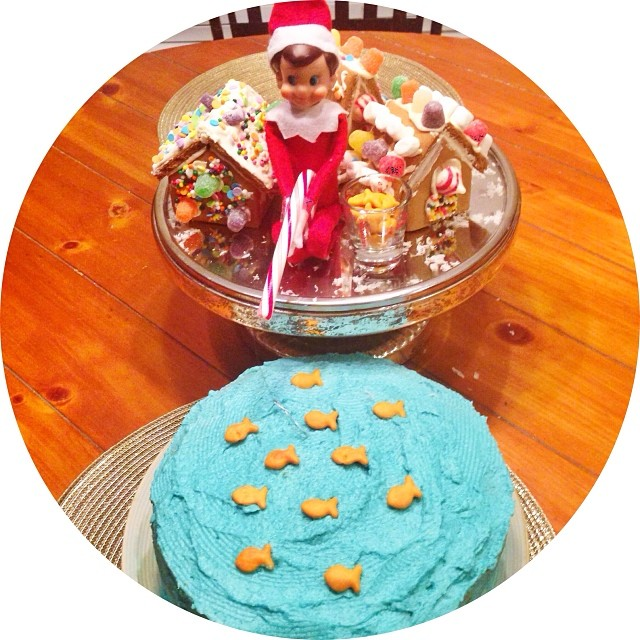 Elfie was found with his candy cane pole trying to catch some fish this morning. Apparently there was a lot of fish out, because his bucket was full of fish. (And, I am sure this delicious cake will hit the spot later today for Mommy!!) #hisugarplumelffun