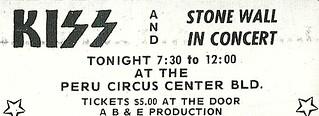 10/31/74 Kiss/ Stonewall @ Peru, IN (Ad 2)