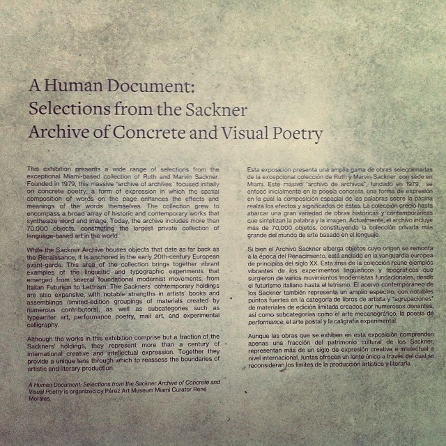 Wall signage, Sackner Archive of Concrete and Visual Poetry. One of Miami's great collections on view at PAMM #pamm