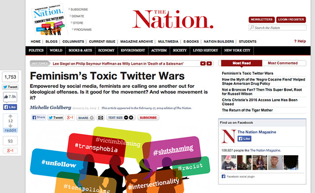 "Screenshot of the Nation's website with ""toxix feminism"" piece"