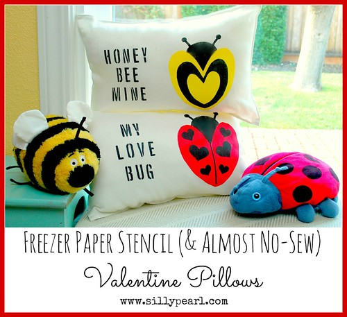 Easy Freezer Paper Stencil and Almost No Sew Valentine Pillows -- The Silly Pearl