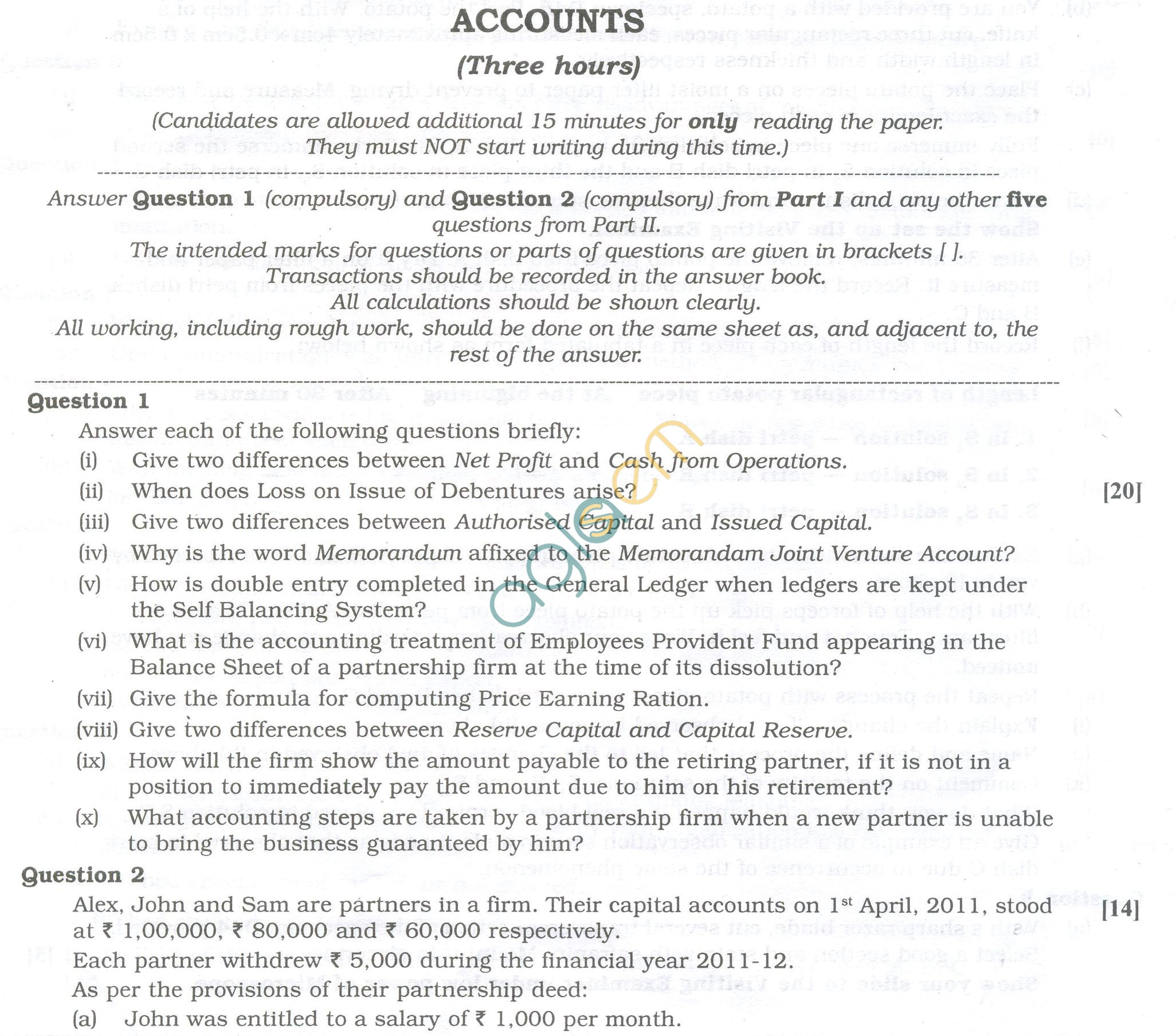 ISC Question Papers 2013 for Class 12 -Accounts