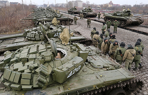 Separate tank battalion of the Baltic Fleet motorized infantry brigade, during loading on flatcars, for dislocation to the district selected for military exercises in the city of Gusev, Kaliningrad Region. by Pan-African News Wire File Photos