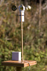Anemometer on bird table with rain gauge