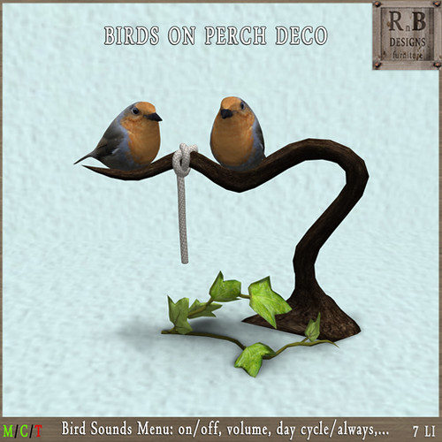 PROMO 50L ! *RnB* Robin Birds on Perch Deco - Sounds Menu (copy)