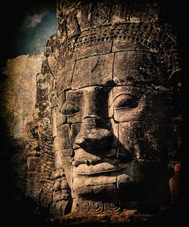 Gritty version of one of Bayon Temple's Face Towers of Lokeshvara the Bodhisattva of Compassion