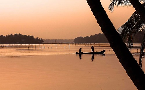Fishermen laying fishing nets for a late catch on Kavvayi River, Padanna @keralatourism