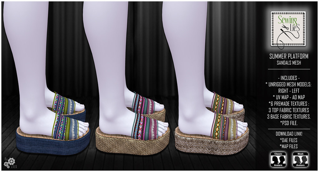 Summer Platform Sandals Mesh - SewingLies - SecondLifeHub.com