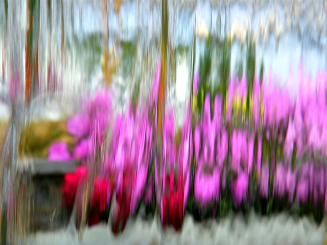 Abstract Flowers Through Waterfall