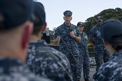 Adm. Scott Swift answers questions from Sailors aboard USS Sterett (DDG 104), April 12. (U.S. Navy/MC1 Byron C. Linder)
