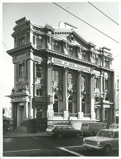 Wellington. Side view of the Te Aro Branch of the Bank of New Zealand on the corner of Cuba and Manners Streets