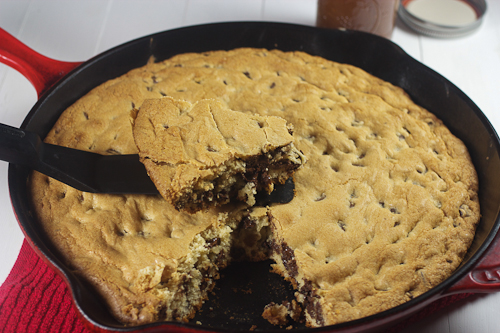 Skillet Chocolate Chip Cookie with Caramel Sauce