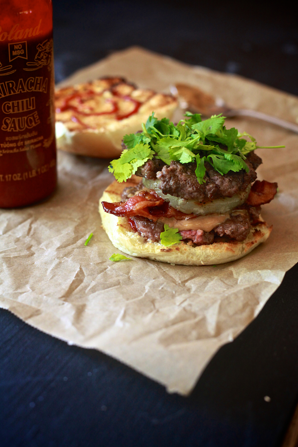 Thai Peanut Butter & Bacon Burger - TheNoshery.com