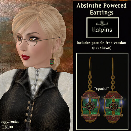 Hatpins - Absinthe Powered Earrings