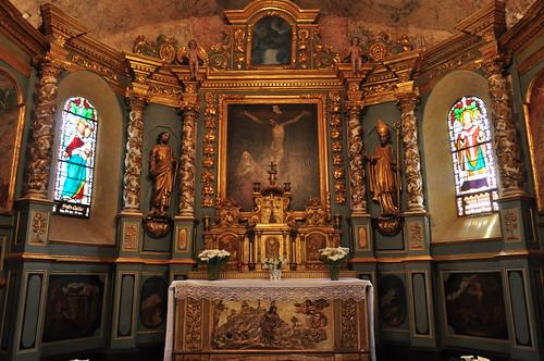 Choeur et autel baroque, église St Martin, Lévignacq, pays de Born, Landes, Aquitaine, France.