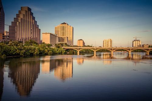 bridge summer reflection water architecture austin river evening downtown cityscape texas unitedstates hdr google2ndanniversary