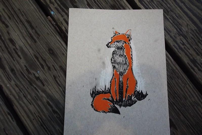 Linoleum Block Print - Fox