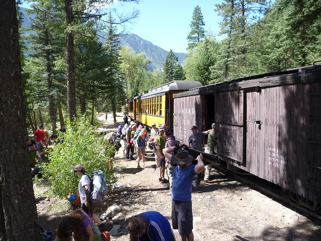 hikers getting off the train