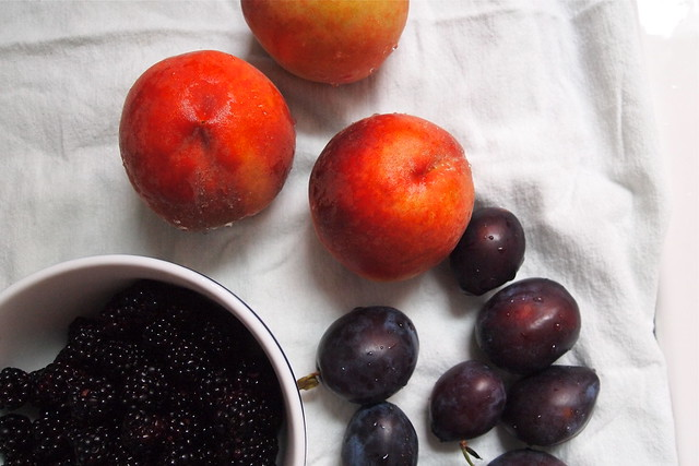 Peaches, blackberries, plums