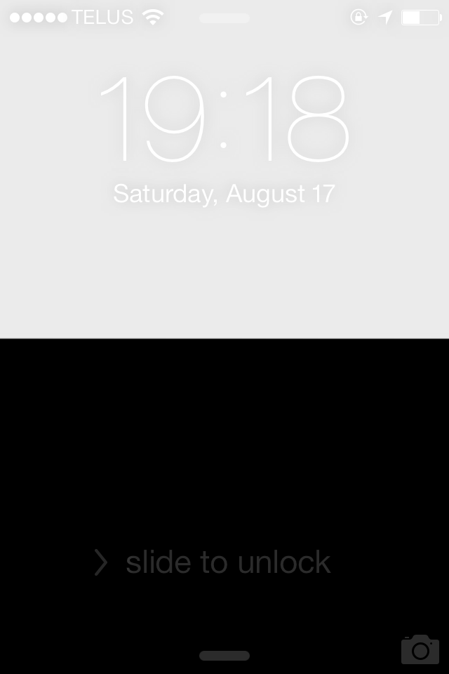 Black and white lock screen
