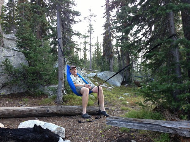 Medium image of at camp he set up his bushman hammock chair and relaxed