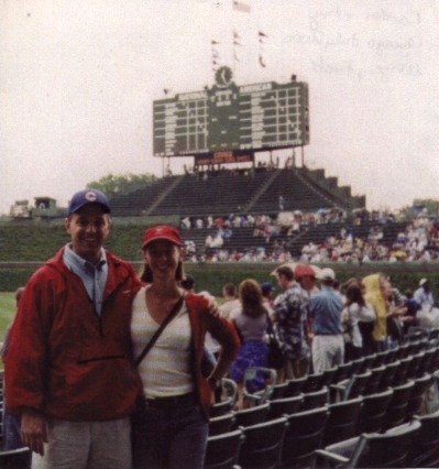 Landon + Angela Benson, Bank of America Creative Services, Chicago, July 2000, Wrigley Field. The Bank of America Creative Services East Meets West Trip