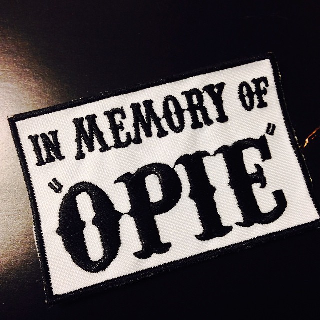 My 'In MEMORY of OPIE' patch arrived today. Yeah it's that serious. #soa #sonsofanarchy #mc #ripopie #soafan #dontjudgeme #fx #fanhard @officialsoa