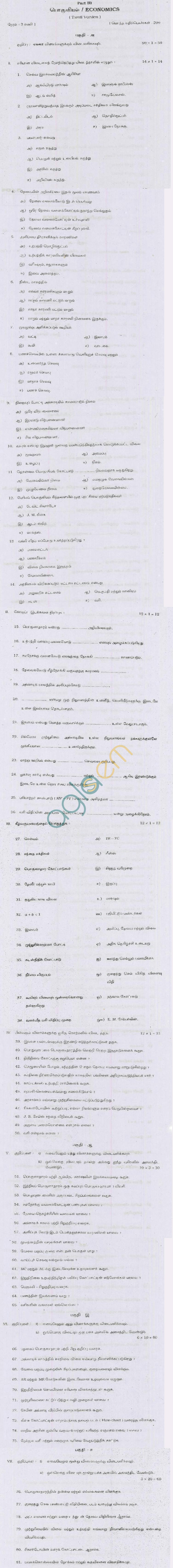 TN Board Higher Secondary (Plus 2) Economics Question Papers September 2011