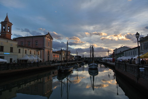 light sunset sea water reflections mirror pier boat canal cesenatico