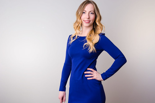 Stephanie in a blue dress