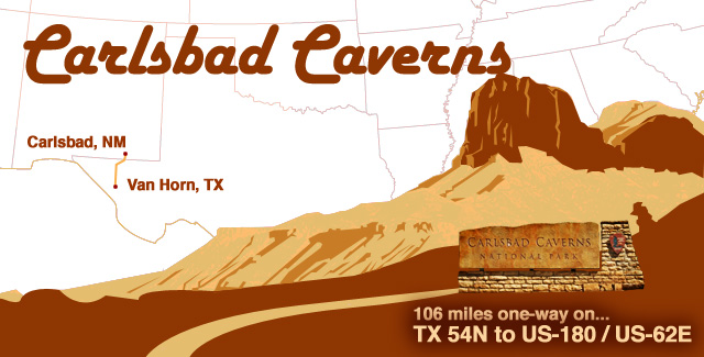 Illustration by: JustWander.in - Carlsbad Caverns National Park roadtrip from Van Horn, Texas to Carlsbad, NM on the TX 54N to US-180 / US-62E