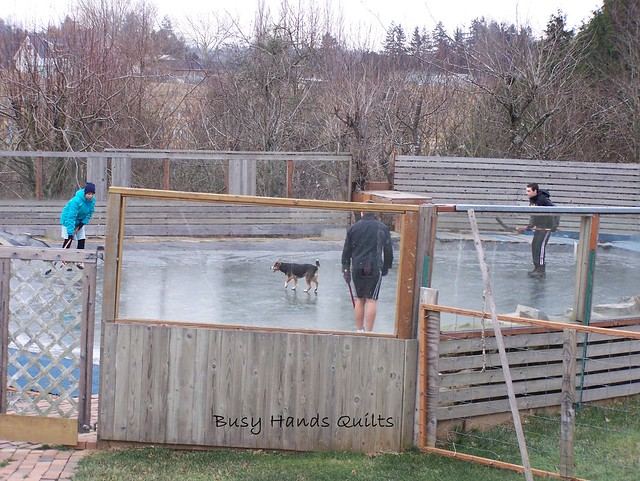 Kids Playing Hockey on Pond