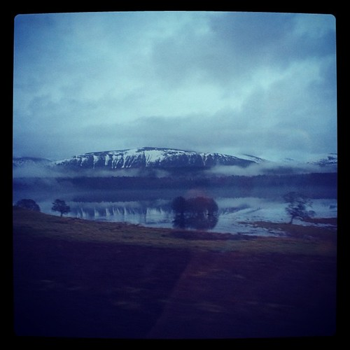On the train home, getting nice views of the Cairngorms.