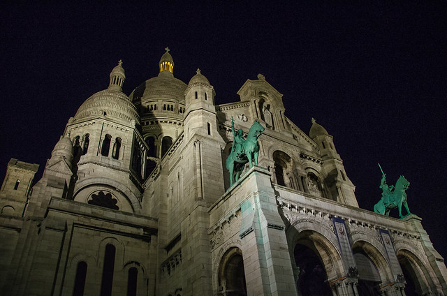 The Sacré-Cœur Basilica at night, Paris