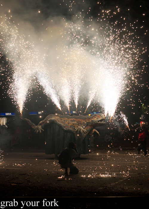 Lizard spraying fireworks at Correfoc Fire Run for La Merce 2013