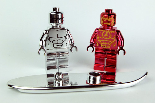 Lego Chrome Surfer & Chrome Human Torch Minifigs (Custom Bricks) by LaPetiteBrique.com