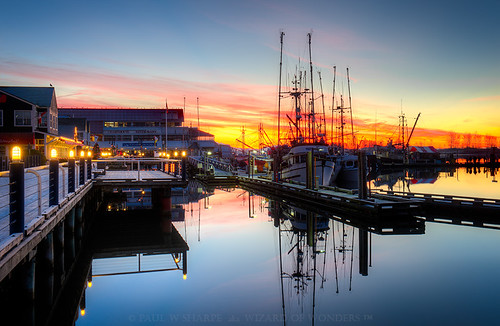 longexposure trees winter canada water vancouver sunrise river landscape boats lights coast fishing dock frost bc scenic quay fraser steveston cannery