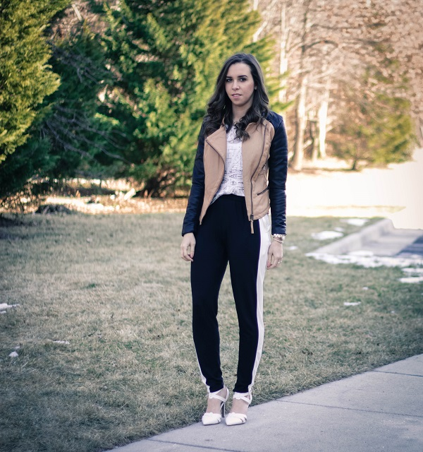 va darling. dc blogger. 2 tone faux leather jacket. tuxedo track pants. white pumps. 3
